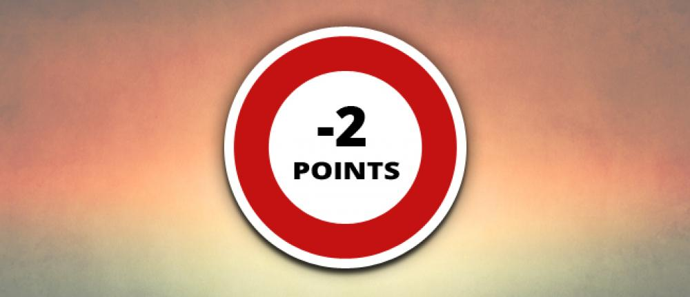 Infractions Code de la Route avec perte de 2 points