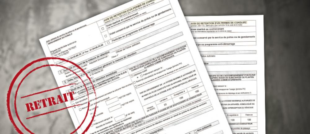Avis de rétention - Retrait de permis